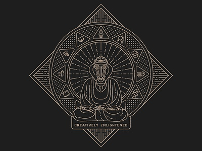 MonkeyTag T-Shirt Illustration mandala cult third eye brain buddha line art monoline creative enlightened mandrill monkey