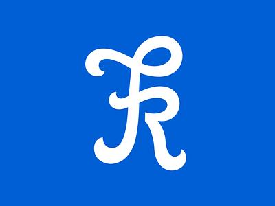 FR wip lettering mark logo custom swirl wip blue white help letter typography fr
