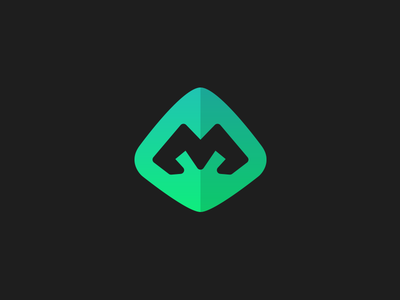 MVD logo mark blue green type