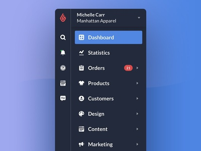Sidebar Style Change sidebar menu links icons dark web store shop navigation lightspeed improvements ecommerce