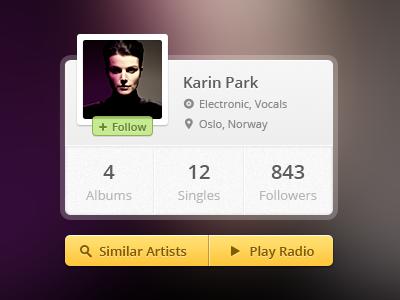 Artist Profile profile artist music yellow green follow name radio border grey pin genre blur avatar picture