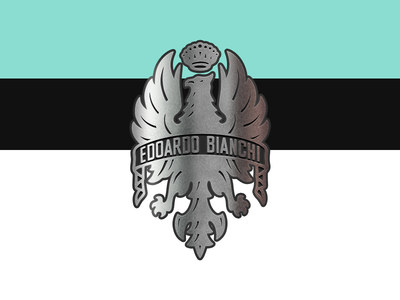 Edoardo Bianchi bianchi emblem cycling bike eagle badge metal texture celeste 227