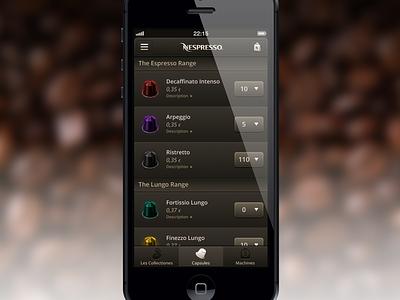 Dear Nespresso... Shop ios shop brown member coffee nespresso app iphone ui list