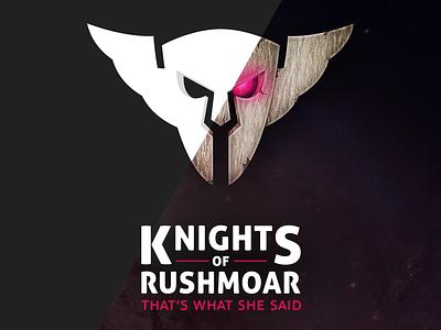 Knights of Rusmoar knight logo fun mask eyes gaming clan starcraft