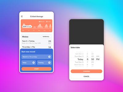 Cricket Average application sport flat average app mobile app design user interface ui cricket