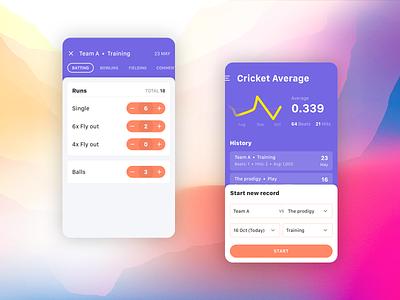 Cricket Average application cricket flat concept app design user experience mobile app design user interface ui sport
