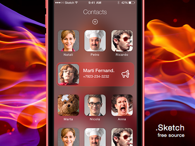 Contacts (.Sketch) sketch free sources src contact ios7 ios iphone app ui grid