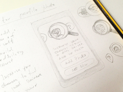 Sketches photo popup concept wunder ui mobile app design user interface user experience carpool sketch