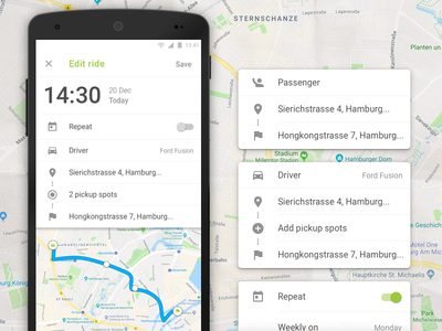 Edit Ride time stops route edit rides carpool user experience user interface mobile app design ui android wunder