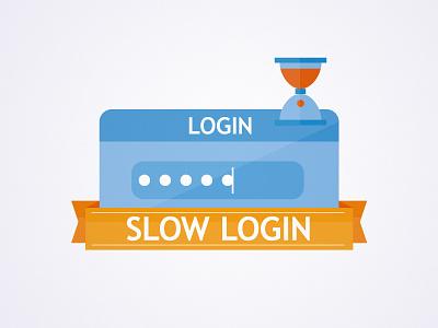 Slow Login bristol graphic design slow login login window egg timer hourglass sand ribbon password illustration b2b nick kelly