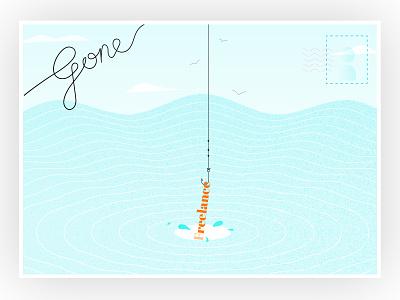 Making waves (hopefully) - Going Freelance water sea gone fishing bristol freelance designer freelance designer postcard fishing fish illustration design freelance
