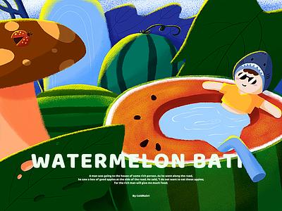 Watermelon Bath illustrations 活跃 设计 插图 ui