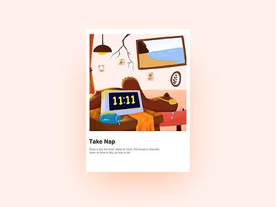 Take Nap 家 design ui 熊 插图
