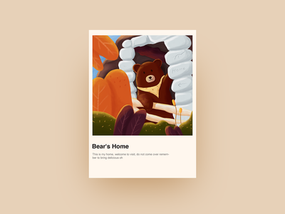 Bear's Home 设计 illustrations 森林 熊 插画