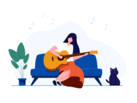 Illustration plays guitar