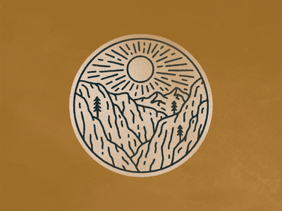landscape_06.png canyon sun graphic design distressed texture simple monoline color palette patch badge illustrator procreate digital drawing neature nature landscape