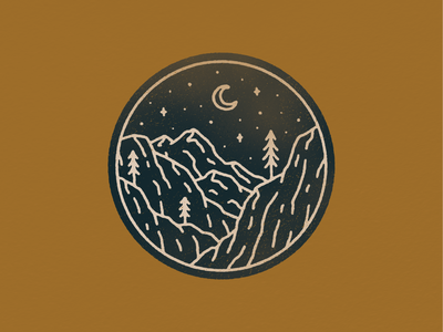 landscape_07.png moon trees mountain patch monoline simple texture graphic design illustration badge design badge nature illustration neature nature landscape