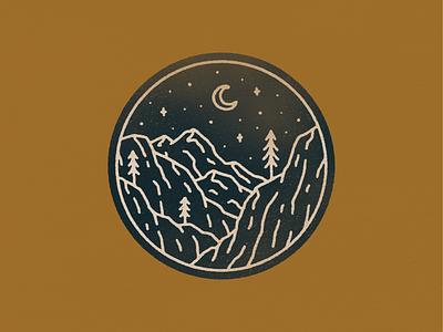 landscape_07.png moon trees mountain patch monoline simple texture graphic design illustration badge design badge nature illustration neature nature landscape