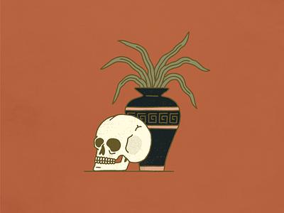 Skull & Vase Still Life digital drawing color palette illustrator monoline illustration graphic design halftone texture vase skull still life