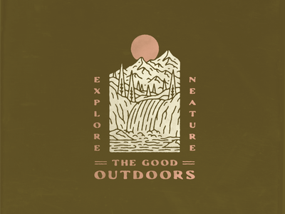 The GOOD Outdoors explore neature nature design texture badge typography monoline distressed vintage illustrator illustration waterfall trees mountains outdoor good