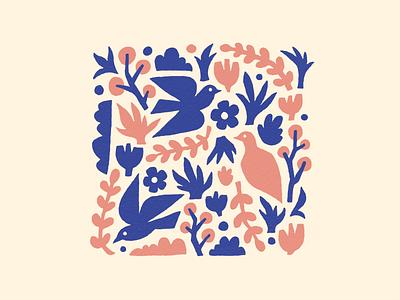 Birbs & Botanicals simple color palette fun playful illustration surface design pattern flowers botanicals birds