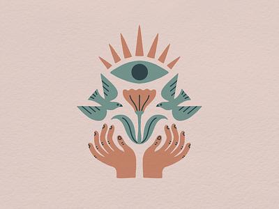 Solace In Symmetry symmetry print design illustrator texture color palette illustration hand drawn eye hands flower birds