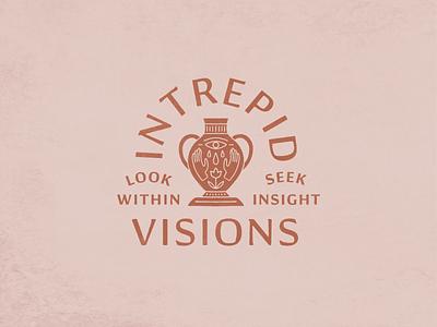 Intrepid Visions type lockup procreate hand drawn texture flower eye hands typography illustration vase
