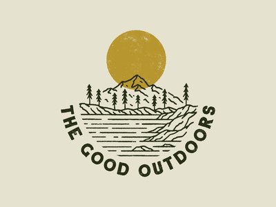 It's All Good In The Hood monoline distressed texture procreate badge graphic design illustration digital drawing sun trees mountain neature outdoors