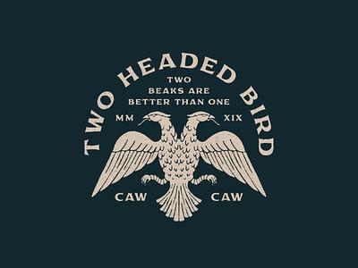 Two Headed Bird type lockup distressed bird branding logo illustrator badge typography vintage logo texture graphic design illustration