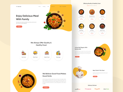 Dine Out - Restaurant Landing Page web design fast food food trending 2021 interface design restaurant website typography uiux design ux design ui design landing page
