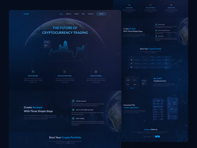 Cryptocurrency Landing Page designer ui  ux bitcoin blockchain application 2021 interaction web trading buy sell wallet cryptocurrency ux design ui design