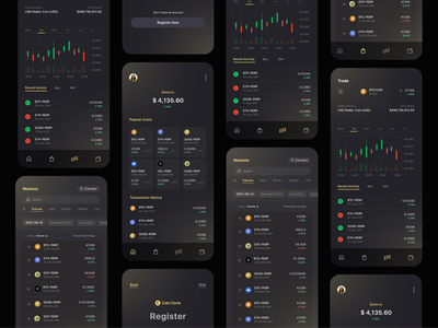 Cryptocurrency Trading App icons simple typography trending dark theme nft 2021 application design user experience ux app mobile interface ui dogecoin bitcoin cryptocurrency