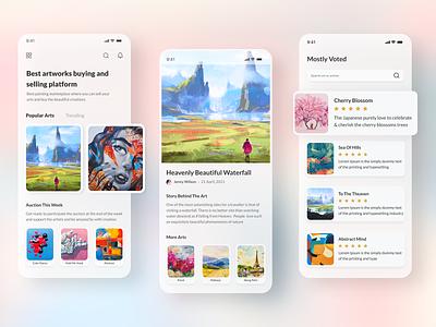 Artworks buy and sell mobile app trending application ios interface ui design 2021 designer painting ux design uiux auction ux sell buy artist mobile app artworks