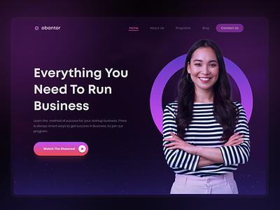 Header & Hero Exploration ui design dark theme business branding typography landing page website minimalist 2021 trending uiux header hero product design web design ui