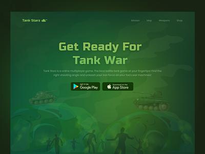 Tank Starz   Hero Exploration webpage ux ui multiplayer weapons games interpage landing page trending designer download header hero website web design web game war star tank