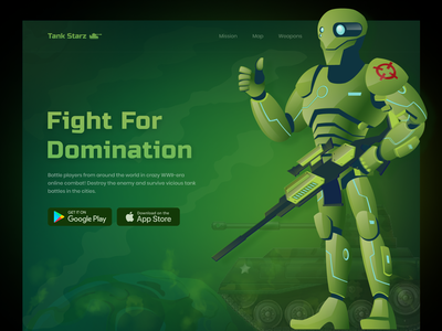 Tank Starz | Hero Exploration web webpage homepage website landing page game hero header web design ui