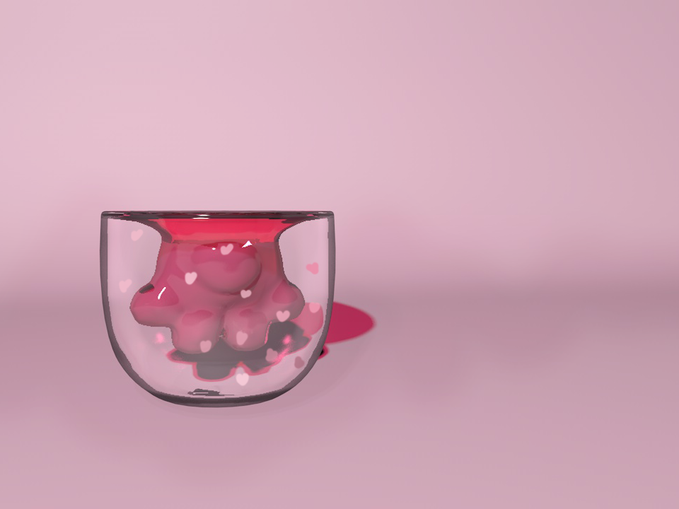 The cat claw cup color pink rendering modeling 3d c4d