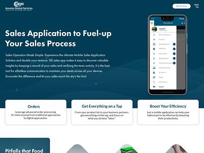 Sales Management Mobile App - Case Study Landing Page webdesign web ui sales management app android app sales services landingpage uiuxdesign ui mobileapp design branding app case study app