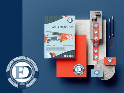 Retro garage pao branding logo vector