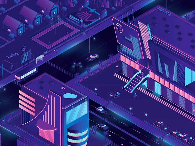 Mall Isometric vector tanding shoping shooting shine people parking mall malll isometric illusrration gradient glossy dribbble creative car blueprint blue