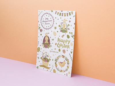 Fedrigoni Easter Card hang tags illustrations white gold foil letterpress fedrigoni card easter