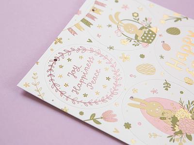 Fedrigoni Easter Card Details pink white hang tags illustrations letterpress foil fedrigoni easter card