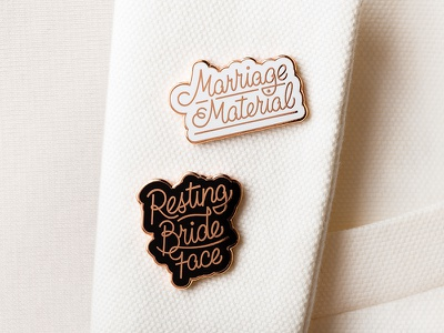 Floravere Pins enamel pins custom typography hand-lettering lettering branding packaging fashion luxury gowns bridal floravere