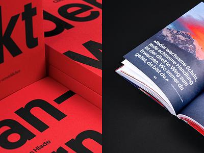 Wandern wirkt Details II biography travel red studio marie zieger christian hlade wandern wirkt typography editorial design editorial book design book