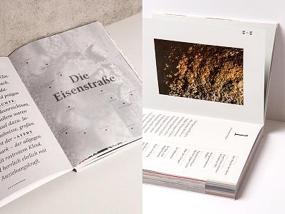 (R)EISEN Details II transparent studio marie zieger white copper eat write live eisenstrasse iron symbols typography editorial design book design book