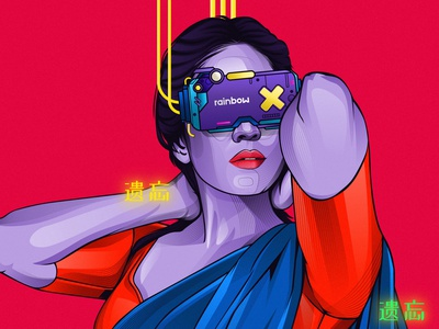 cyberpunk illustration design vexel illustrator adobeillustrator vector vexel rainbow concept art concept design character cyberpubk charactor design illustration vector