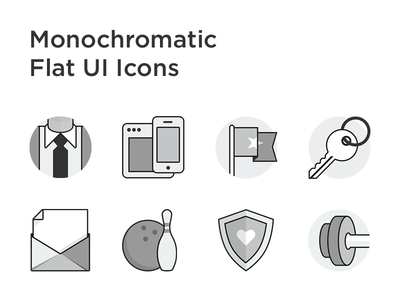 Monochromatic Flat UI Icons grayscale line flat icons