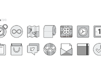 Grayscale flat ui icons