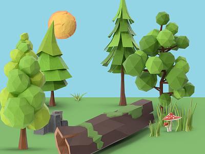 3D Scene pixelsquid low poly 3d