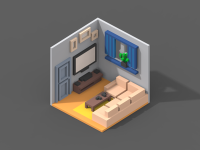 Room #1 isometric poly room magicavoxel 3d